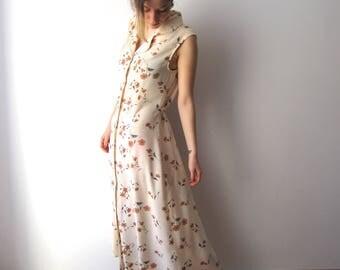 Vintage Maxi Dress Flowers Print Sleeveless Dress 90s Summer Romantic Dress Button Up Shirt Dress Medium to Large Size Grandmother Dress