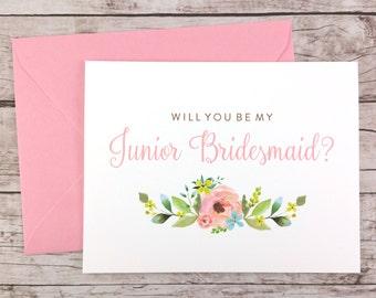 Will You Be My Junior Bridesmaid Card, Bridesmaid Proposal Card, Floral Bridesmaid Card, Wedding Card, Bridesmaid Gift - (FPS0013)