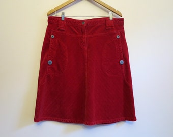Hot Red Womens Skirt Corduroy Mini Skirt Red A Line Skirt Red Stretchy Skirt Large Size