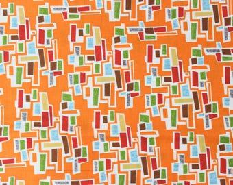 Mod Century by Jenn Ski for Moda - Tiny Town Blocks Tangerine Orange - Sold by the yard