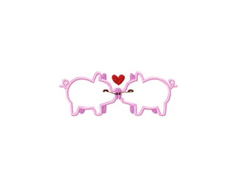 PES, pig embroidery design, pig applique design, valentines day kissing pigs, valentines day embroidery design, kissing pig applique