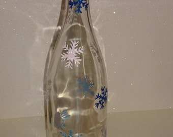Glitter Snowflake Wine Bottle