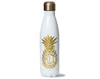 Alpha Sigma Tau Sorority Stainless Steel Water Bottle With Gold Pineapple Greek Letter Design.