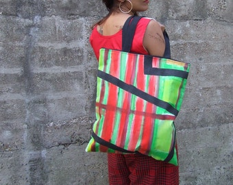 Green & Red Hand Printed Tote Bag