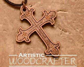 Wooden Cross Necklace (Walnut/Cherry)