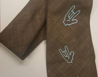 ASL Sign Language NeckTie Deaf Awareness