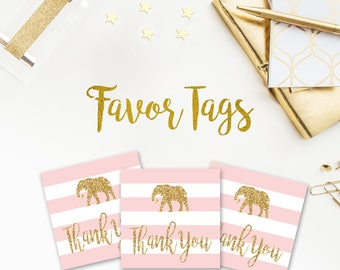 Light Pink and Gold Baby Shower Favor Tags, Baby Shower, Tags, Thank you tags, Stripes, Striped, Printable, Instant Download, Tags, 005