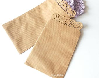 10 kraft paper flat gift bags with floral edge, favor gift bags, kraft paper wedding rice bags, flowers gift bags, gift packaging, Silagà