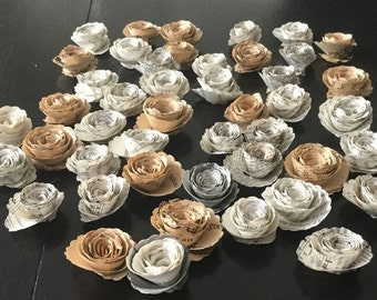 paper flowers, loose paper flowers, wedding decor, party decor, bookish, literature wedding, table scatter, flower confetti, bookish decor