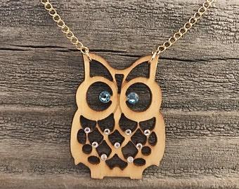 Wood owl necklace with Swarovski crystals