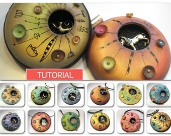 Orson's Banburying kitties pendants in polymer clay Original tutorial e-book