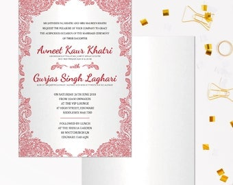 Indian wedding cards, Hindu wedding program, Red wedding invitations kits, Henna wedding invite, Indian wedding program, Indian invitations