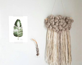 Fluffy cloud Woven Wall Hanging, nursery decor. Grey roving and fringe of ivory, grey and a little gold