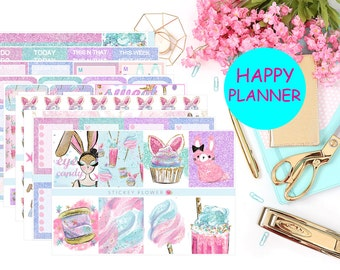 Sugar Bunny Weekly Happy Planner Sticker Kit (9 sheets)