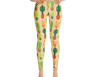 Cactus Leggings, Cactus Pattern, Leggings
