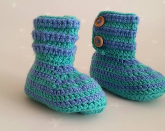 Baby booties, Handmade Stripy green and blue buttoned crochet booties 6-12 months, Baby gift, Toddler booties
