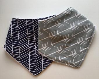 Bandana Bib | Drool Bib | Kerchief Bib | Arrows and Geometric | Gender NeutralBaby Shower Gift