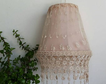 Vintage Lamp Shade/Blush lamp shade/Lace lamp shade/ornate lamp shade/table lamp shade/lamp