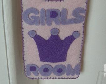 Door sign,bedroom door sign,  felt door hanger, felt sign, door plaque