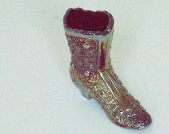 Vintage Fenton iridescent Carnival Glass Daisy and Button Glass Boot - RARE!