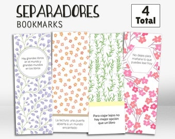 Cute bookmarks, bookmark, in spanish, bookmark set, printable bookmarks, quotes, printable, separadores, señaladores, divisor, punto libro