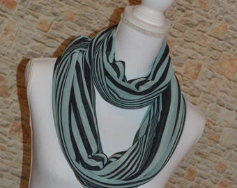 Infinity scarf Green stripes Oversized scarf Striped scarf Stripe scarf Loop scarf Summer scarf Womens scarves Boho chic Gift for women