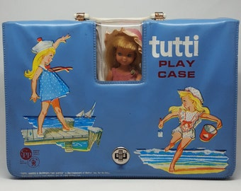 1965 Tutti Play Case with Tutti Doll in Pink Outfit with 3 Other Outfits! Skippin' Rope #3605, Puddle Jumper #3601 and Ship Shape #3602