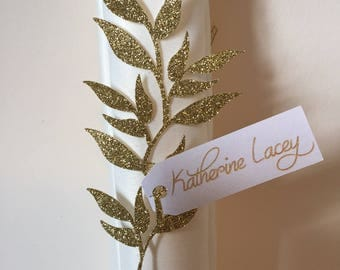 Gold Glitter Place Cards, Gold Glitter Napkin Rings, Wedding Place Cards, Personalized Place Cards, Vine Place Cards, Vine Napkin Rings