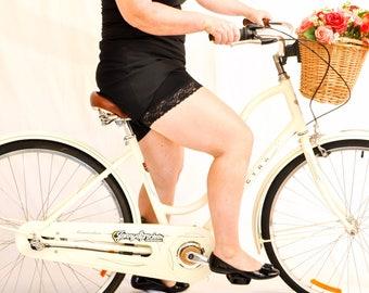 Black slip shorts - booty shorts - lace shorts - tap pants - womens boxer shorts - bicycle pants - modesty shorts - pettipants