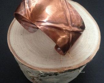 Foldformed Copper Cuff Bracelet Modern Metal Artisan Handmade Metal Jewelry 7th Anniversary Gift