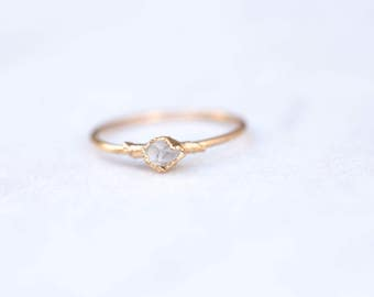 Dainty Boho Ring, Herkimer Diamond Ring, Thin Raw Ring, Thin Rough Crystal Ring, Raw Crystal Ring, Dainty Crystal Ring, Delicate Raw Ring