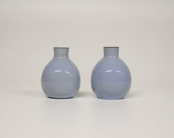 2 blue N Utrecht vases-Vintage Dutch ceramics