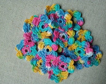 Crochet mini flowers/20 colorfull flowers/small crochet flowers/appliques 20 pcs