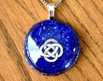 Orgone Pendant Necklace Celtic Knot Blue Gemstone Crystal Healing Energy Jewelry EMF Protection
