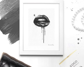 Fashion Wall Art - Black Lips - Chanel Lipstick - Fashion Print & Illustration - Canvas Art Poster -  Fashion Wall Decor - Chic Decor