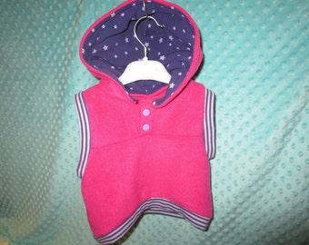 baby fleece vest, pink with hoodie, purple hoodie lining