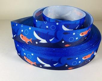 "7/8"" Shark Ribbon - Printed Grosgrain Ribbon"