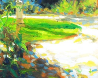 oil painting // landscape of statue in park // artistic work of art // hand-painted contemporary impressionism art
