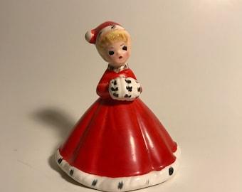 Vintage Josef Original Christmas Bell Girl in Red Dress Holding Muff
