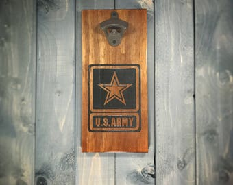 Rustic Army Wall Mounted Bottle Opener - US Army, patriotic, military, bar, home, man cave, personalized, customized