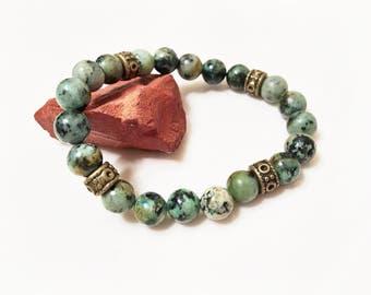 African turquoise beaded bracelet, spotted jasper stone stretch bracelet