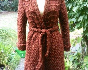 Knit sweater coat, copper, size 36-38 (S M), in the pattern mix