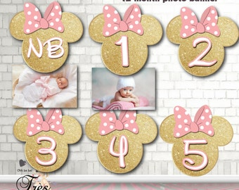 MINNIE MOUSE Gold Banner,Minnie Mouse,Minnie Mouse Birthday Banner,Minnie Mouse 12 month Birthday Banner,Minnie Mouse 12 month,Minnie