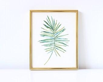 Modern Art, Leaf, Nature, Leaf Print, Tropical Leaf, Wall Art, Printable Wall Art, Botanical Print, Palm Art Print, Leaf Art, Watercolor Art