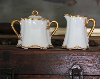 ITEM ON HOLD for Christine//Delicate Vintage Haviland Limoges France Ranson Sugar Bowl and Creamer Set