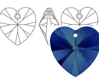 Swarovski 6228 Crystal Heart Pendant 10mm  Bermuda Blue 4PC 12PC
