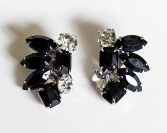 Clip on Vintage Black Rhinestones and Silver Toned Earrings