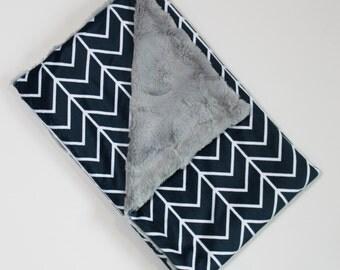 navy chevron minky blanket, chevron blanket, minky baby blanket, baby blanket, minky blanket, square blanket, blue blanket, faux fur blanket