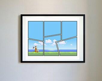 Calvin and Hobbes #127 - 8Bit World - Nursery Art Print, Decor, Poster, Picture, Childrens Art, Kids Room, Space