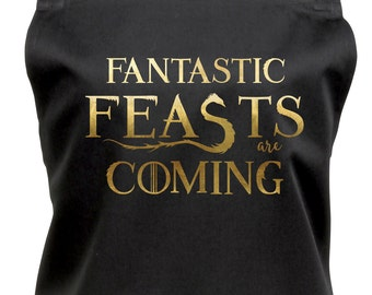 Fantastic Feasts Are Coming! Apron with Pocket, Fun Combo of Fantastic Beasts & Game of Thrones, GG1057